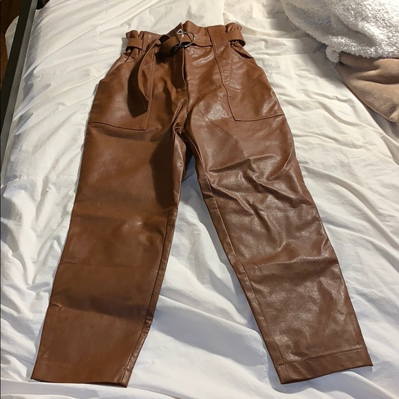 8d17bb1b24886 River Island Faux Leather Paperbag Pants